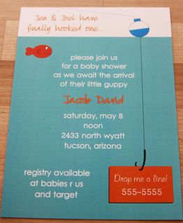 Inspired by what a goldfish baby shower the favor maker im not sure im sticking with this wording but as i was making the invitation it dawned on me that the fishing line could be a terrific way to decorate filmwisefo Image collections